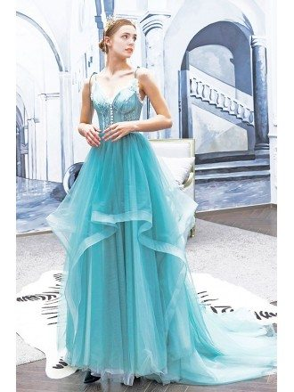 Beautiful Blue Ruffles Vneck Long Prom Dress With Spaghetti Straps