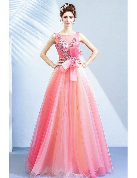Romantic Pink Organza Long Party Dress With Flowers Big Bow Front