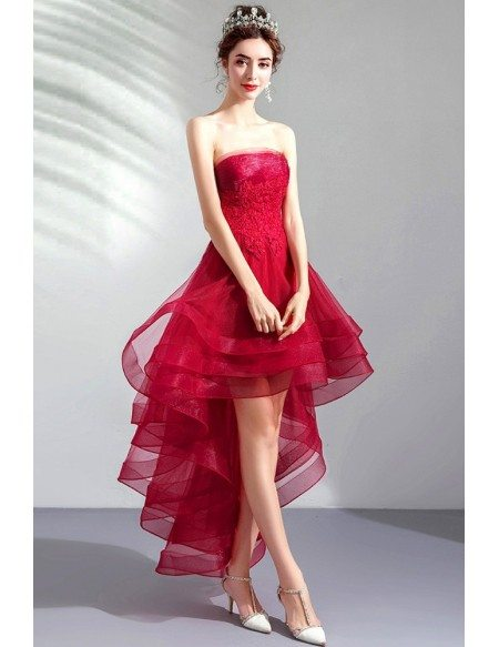 Burgundy Red Tulle Cute Prom Party Dress High Low With Lace Strapless