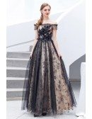 Black Tulle With Bling Embroidery Long Prom Dress With Off Shoulder