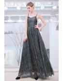 Shining Sequins Dark Grey Party Dress With Bling Spaghetti Straps
