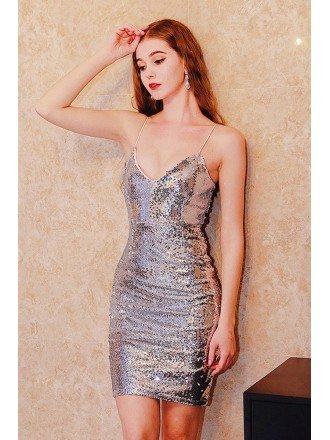 Fitted Short Sparkly Sequins Sliver Party Dress With Straps