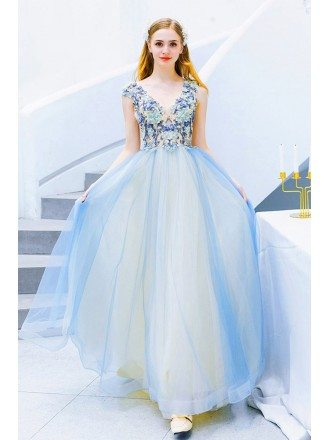 Cute Blue Tulle Vneck Long Prom Dress Sleeveless With Petals