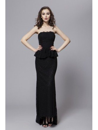 Elegant Lace Strapless Long Evening Dress With Sweep Train
