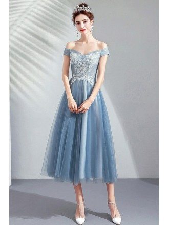 Dusty Blue Tulle Tea Length Party Dress Off Shoulder With Lace