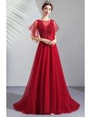 Flowy Long Tulle Burgundy Prom Dress Aline With Beading Puffy Sleeves