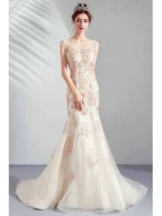 Fitted Mermaid Champagne Tulle Wedding Party Dress With Train