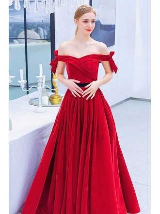 Red Off Shoulder Long Prom Dress Aline With Ruffles