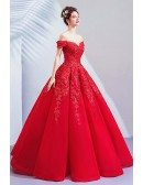 Gorgeous Formal Ballgown Red Pageant Prom Dress With Embroidery Off Shoulder