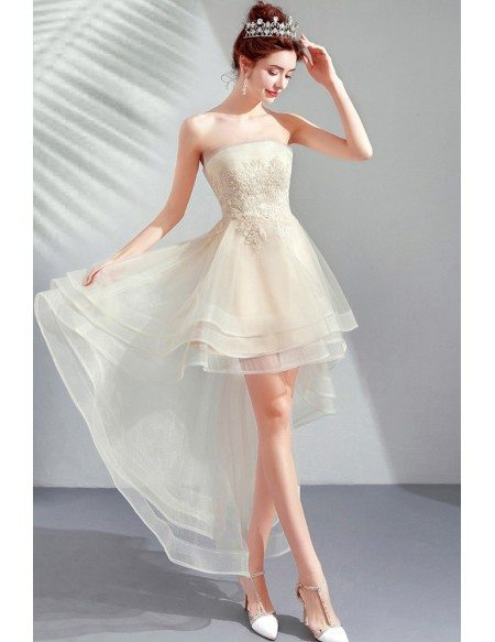 Strapless Light Champagne High Low Cute Prom Party Dress Tulle With Lace
