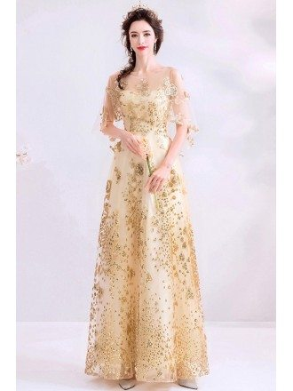 Sparkly Bling Gold Long Party Dress With Sheer Neck Puffy Sleeves
