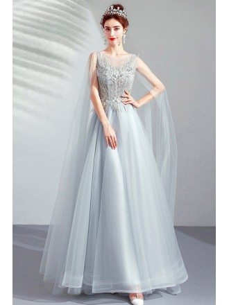Flowy Grey Aline Long Prom Dress With Beading Cape Sleeves