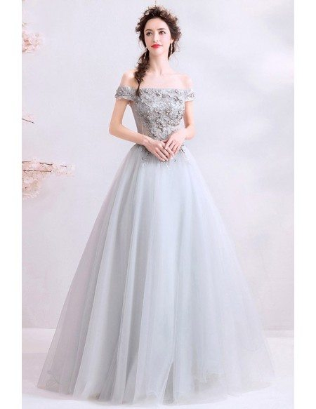 Elegant Grey Tulle Off Shoulder Prom Dress With Beaded Embroidery