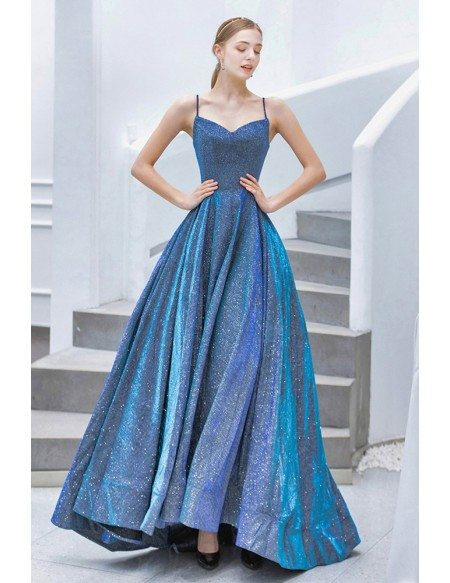 Fantasy Bling Blue Sparkly Prom Dress With Spaghetti Straps Train
