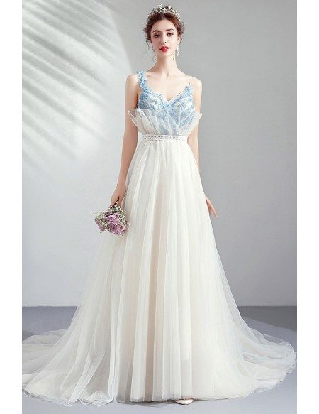 Special Ivory White Tulle Long Train Prom Party Dress With Straps