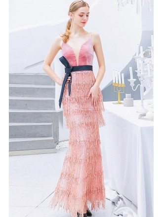 Pink Sequin Tassels Long Party Dress Vneck With Sash Straps
