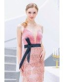 Pink Sequin Tassels Long Party Dress Vneck With Sash Straps