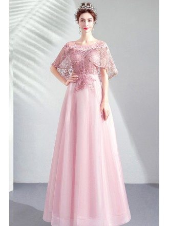 Graceful Pink Tulle Long Party Prom Dress With Beaded Cape Sleeves