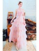 Cute Pink Tulle High Low Party Prom Dress With Straps