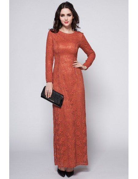 Retro Brick Red Long Lace Sleeve Dress