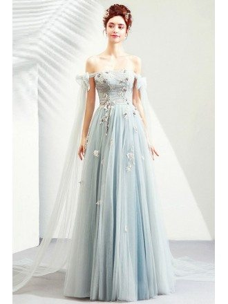 Fairy Light Dusty Blue Tulle Prom Dress Big Bow With Off Shoulder