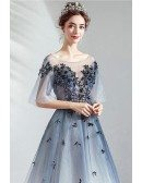 Dreamy Ombre Blue Organza Long Prom Dress With Petals Puffy Sleeves