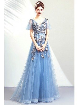 Dusty Blue Beaded Flowers Aline Prom Dress Vneck With Tulle Sleeves
