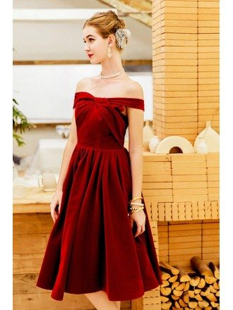 Burgundy Velvet Knee Length Party Dress Pleated Off Shoulder