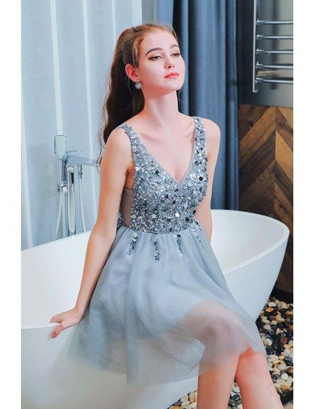 Sparkly Sequins Blue Short Prom Homecoming Dress With Bling Bling