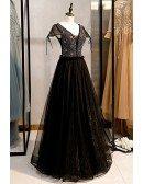 Bling Black Tulle Vneck Formal Dress With Cap Sleeves