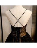 Black With Champagne Ballgown Prom Dress Vneck With Spaghetti Straps