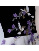 Elegant White Tulle Long Aline Party Dress With Flowers Sleeveless