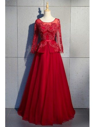 Beaded Long Ballgown Burgundy Formal Dress With Long Sheer Sleeves