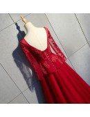 Beaded Long Ballgown Burgundy Formal Dress With Long Sheer Sleeves