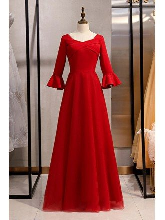 Formal Long Red Satin Evening Dress With Flare Sleeves