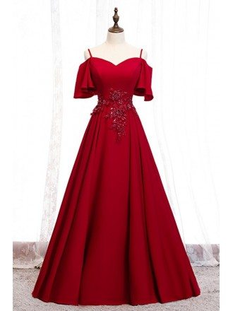 Beautiful Long Burgundy Prom Dress With Straps Sleeves