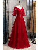 Modest Vneck Flowy Long Party Dress With Puffy Sleeves