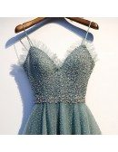 Dusty Green Beaded Sequins Long Prom Dress With Straps