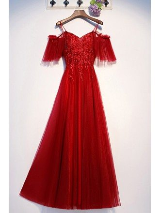Burgundy Long Tulle Aline Prom Party Dress With Appliques