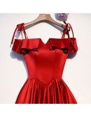 Burgundy Red Cute Satin Prom Dress With Ruffles