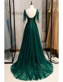 Dark Green Flowy Tulle Prom Dress With Train Appliques