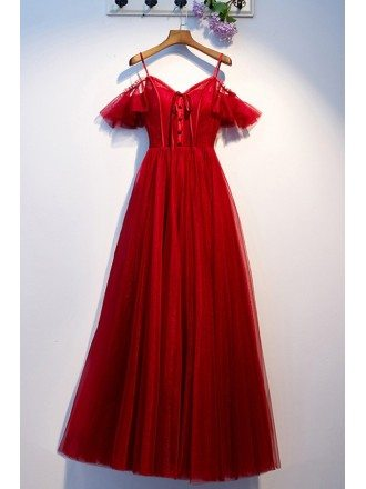 Pretty Long Tulle Burgundy Party Dress With Straps