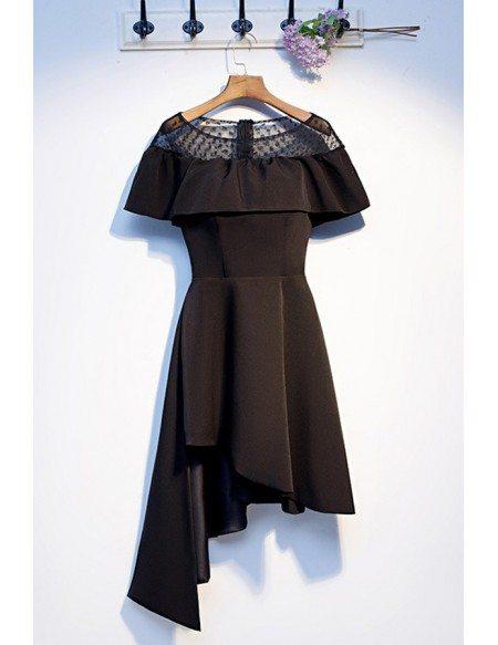 Little Black Asymmetrical Short Casual Party Dress