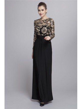Gorgeous Black Empire Chiffon Long Dress With Sequines