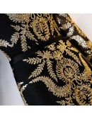Black With Gold Shinning Sequins Mermaid Long Formal Dress With Long Sleeves