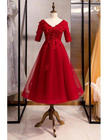 Burgundy Tea Length Party Dress Vneck With Short Sleeves