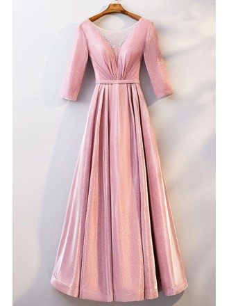 Metallic Pink Ruffled Aline Long Party Dress With Sleeves