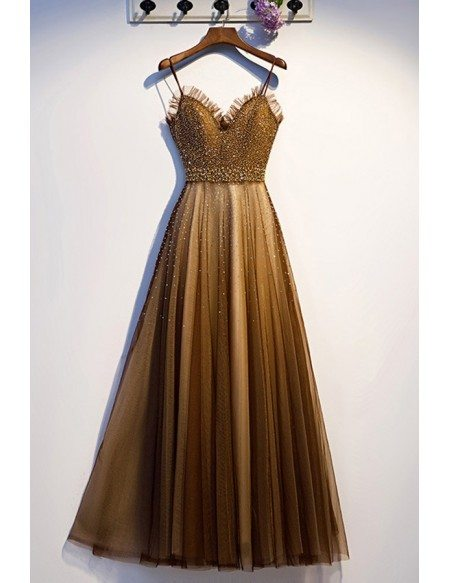 Brown Tulle Sparkly Beaded Long Prom Dress With Straps