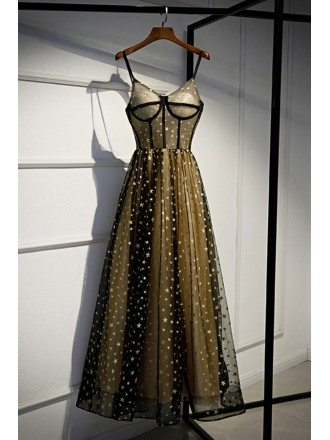 Black With Gold Stars Corset Prom Dress With Straps