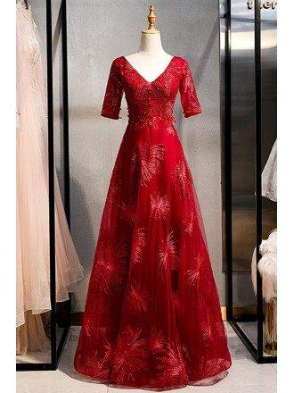 Elegant Vneck Modest Formal Dress With Beaded Sleeves